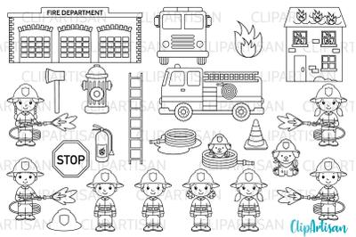 Firefighter Digital Stamps, Fireman Digital Stamps