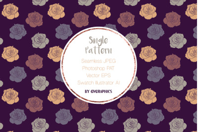 Single Floral Seamless Pattern | Hand drawn Roses Seamless Tile