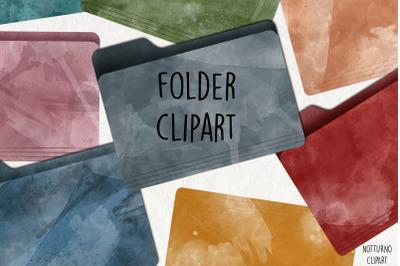 Watercolor Folder Clipart. Set of 15