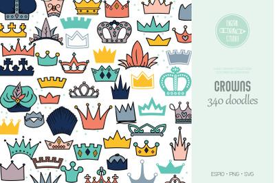 Crowns Color | Princess Tiara | King, Queen, Royal Illustrations