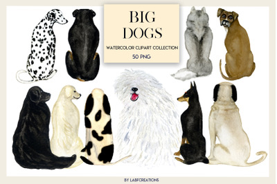 Big Dogs watercolor clip art, backs of Dogs. Dog Gifts