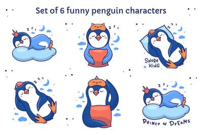 Set of funny pebguin characters