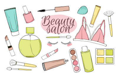 Cosmetic beauty salon set.