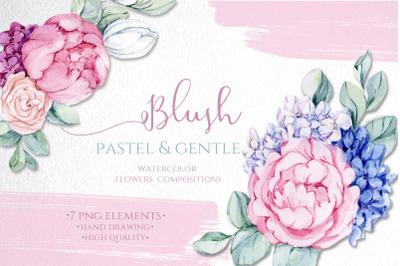 Watercolor Blush Bloom Pastel Flowers clipart