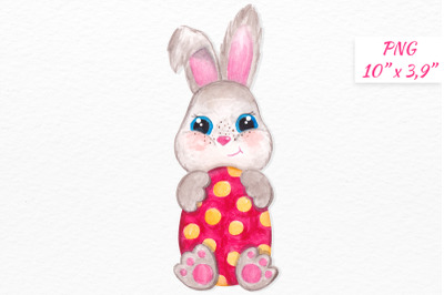 Cute Easter bunny clipart Watercolor little Bunny with egg