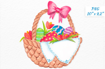 Easter basket with colorful eggs clipart Watercolor Easter Happy Easte