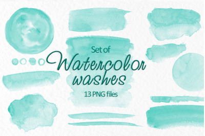 Turquoise watercolor stains clipart Watercolor washes clipart