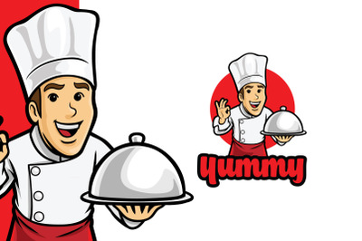 Happy Yummy Chef Logo Template