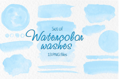 Blue watercolor stains Watercolor washes clipart