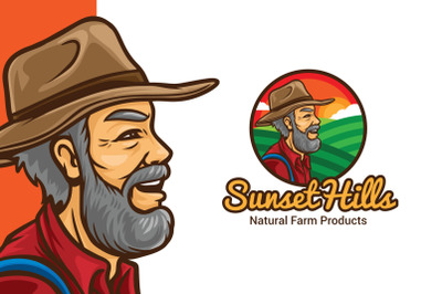 Sunset Hill Farmer Logo Template