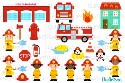 Firefighter Clipart, Firetruck Illustration