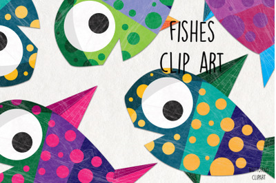 Colorful Fish clipart, instant download. Set of 6 cute fishes clipart.