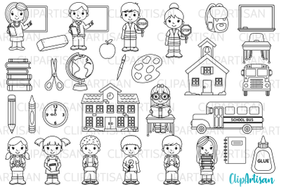 Back to School Digital Stamps, Classroom Clip Art