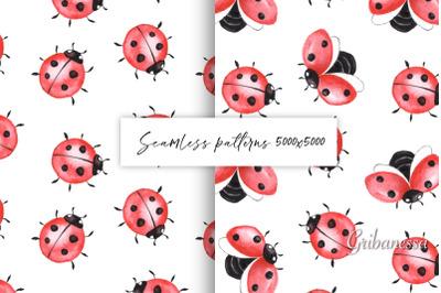 Ladybugs. Seamless patterns