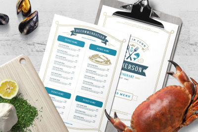 Seafood Menu Template and Logo
