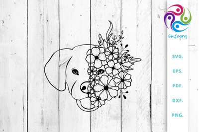 Labrador Dog With Flowers Svg Cut File