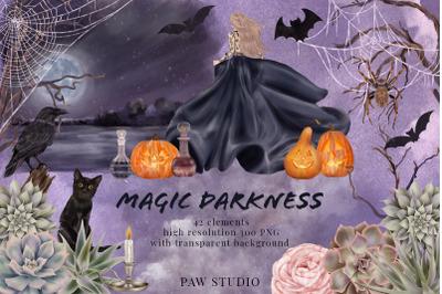 Halloween fall flowers Clipart. Witch. Pumpkins. Cat. Crow. Spider Net