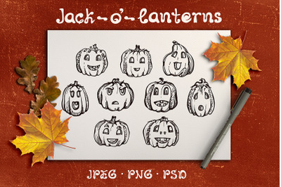 9 hand drawn jack-o-lanterns