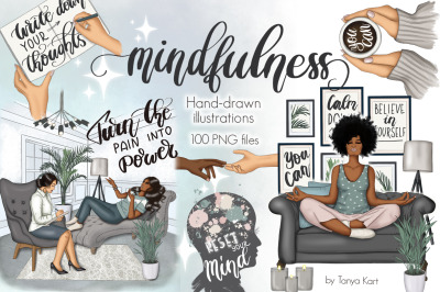 Mental Self Care Clipart & Pattern