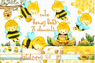 Bees and Honey clipart Sunflowers clipart Beehive Png Bumble