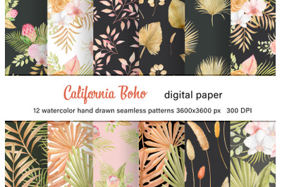 Watercolor tropics and dried palm leaves boho seamless pattern.