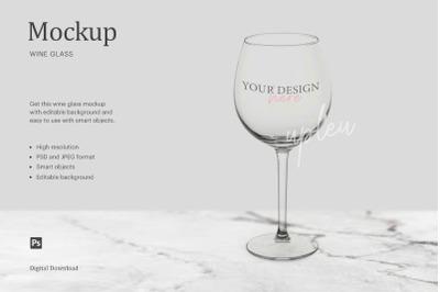 Wine Glass Mockup, Wine Stem Glass Mockup, Clear Wine Glass Mockup