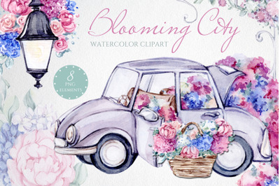 Blooming City Watercolor flower clipart