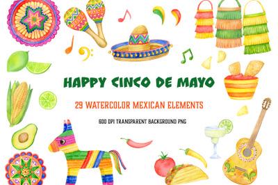 Watercolor mexican fiesta clipart set. Cinco De Mayo, summer PNG