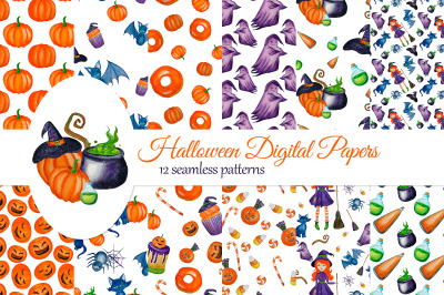 Halloween Digital Papers with cute Witch, Ghost, Cat, Pumpkins. Hallow