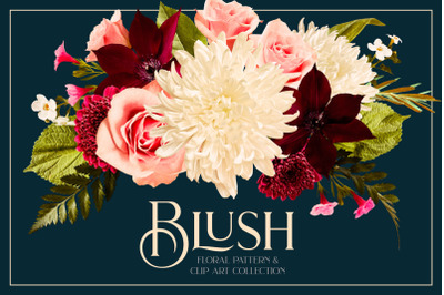 Blush Floral Patterns & Clipart Collection