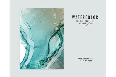 Abstract watercolor blue marble painting, modern liquid background, tr