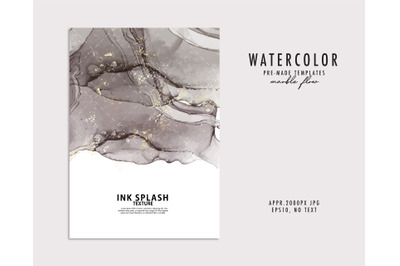 Watercolor grey abstract ink marble blot design neutral  with gold spl
