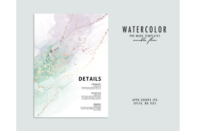 Neutral green watercolor violet gold glitter splatter desgn. Alcohol i
