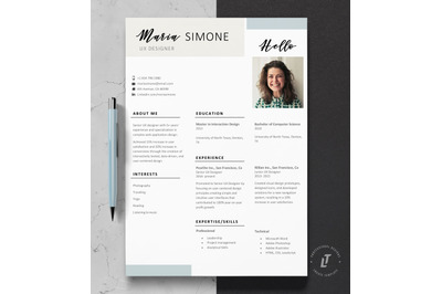 Resume Template, CV Template, One page Resume Design