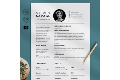 Resume Template, CV Template, One and Two page Resume Design