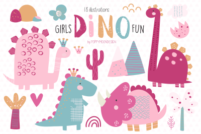 Girls Dino fun clipart