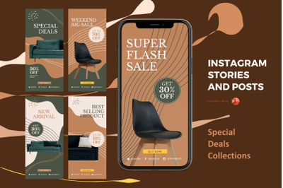 Instagram stories and posts powerpoint template - special deal collect