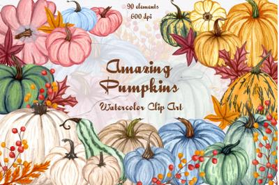 Watercolor Pumpkin Clipart 600dpi