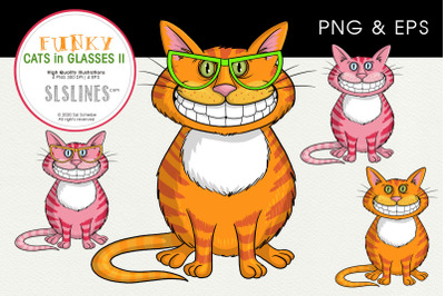 Chubby Cats in Funky Glasses PNG & EPS