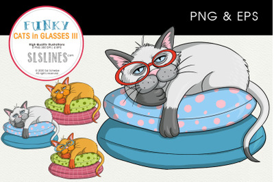 Lazy Cat on a Pillow - PNG & EPS Illustrations