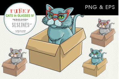 Cat in a Box PNG & EPS Illustrations