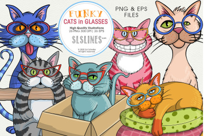 Cats in Funky Glasses PNG & EPS Illustrations