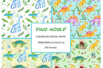 Watercolor dinosaur digital paper, dino tropics seamless pattern