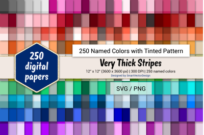 Very Thick Stripes Digital Paper - 250 Colors Tinted