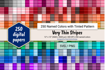 Very Thin Stripes Digital Paper - 250 Colors Tinted