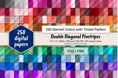 Double Diagonal Pinstripes Digital Paper - 250 Colors Tinted