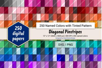 Diagonal Pinstripes Digital Paper - 250 Colors Tinted