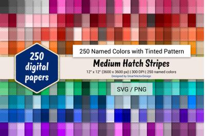 Medium Hatch Stripes Digital Paper - 250 Colors Tinted
