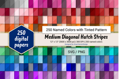 Med Diagonal Hatch Stripes Digital Paper - 250 Colors Tinted