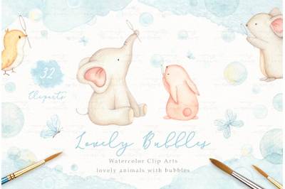 Lovely Bubbles Watercolor Clip Arts
